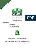 Internship Report on Mcb Bank