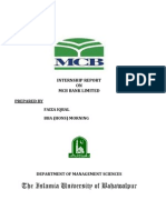 Internship Report on Mcb Bank