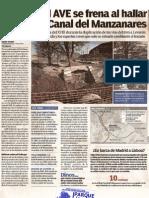 El LAV a Levante se frena al encontrar la Quinta Esclusa del Canal del Manzanares. Diario 20 Minutos.