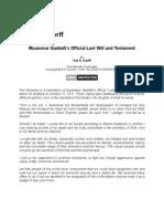 Muammar Gaddafi's Official Last Will and Testament
