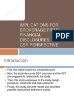 Implications for Brokerage Firms Financial Disclosures