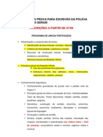 PROGRAMA DA PROVA PARA ESCRIVÃO DA POLÍCIA CIVIL DE MINAS GERAIS