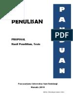Panduan Penulisan Proposal, Hasil Penelitian dan Tesis - Pascasarjana UNSRAT (edit by