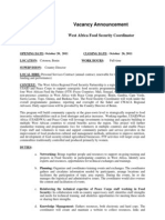 Peace Corps Food Security Coordinator Personal Services Contract - Vacancy Announcement