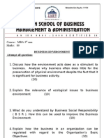 Business Environment Question Paper