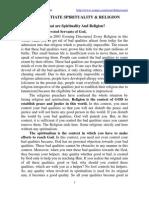 Diifrentiate Spirituality and Religion