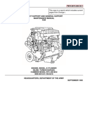 Cummins NTC 400 Svc & Repair Vol 1 | Fuel Injection | Diesel Engine