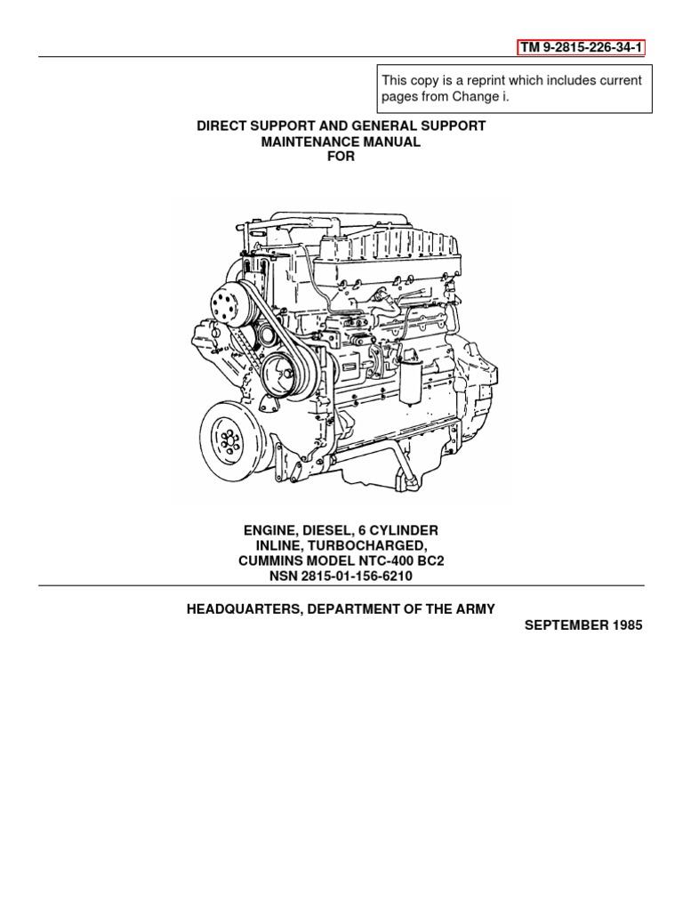 Cummins NTC 400 Svc & Repair Vol 1   Fuel Injection   Diesel Engine