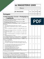 Tabela comparação programas MAGISTÉRIO-RS 2005