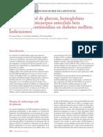 02.043 Sobrecarga oral de glucosa, hemoglobina glucosilada, anticuerpos anticélula beta pancreática y antiinsulina en diabetes mellitus. Indicaciones