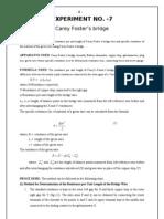 Specific Resistance by CareyFoster's Bridge