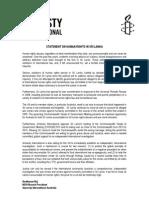 Amnesty International Statement on Human Rights in Sri Lanka