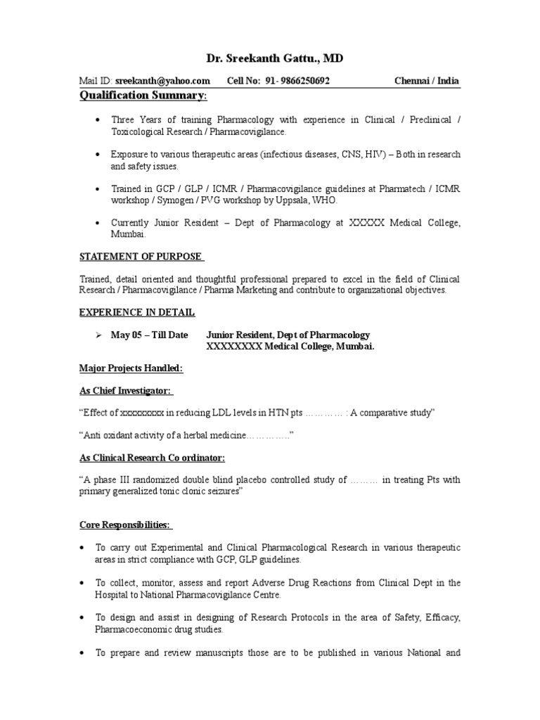Sample resume pharmacovigilance clinical trial yelopaper Image collections