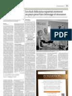 Les Sud-Africains expatriés rentrent au pays pour fuir chômage et récession (Le Monde, 25 octobre 2011)