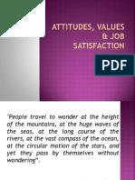 Attitudes, Values & Job Satisfaction