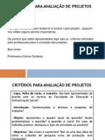 Criterios Para Avaliacao de Projetos