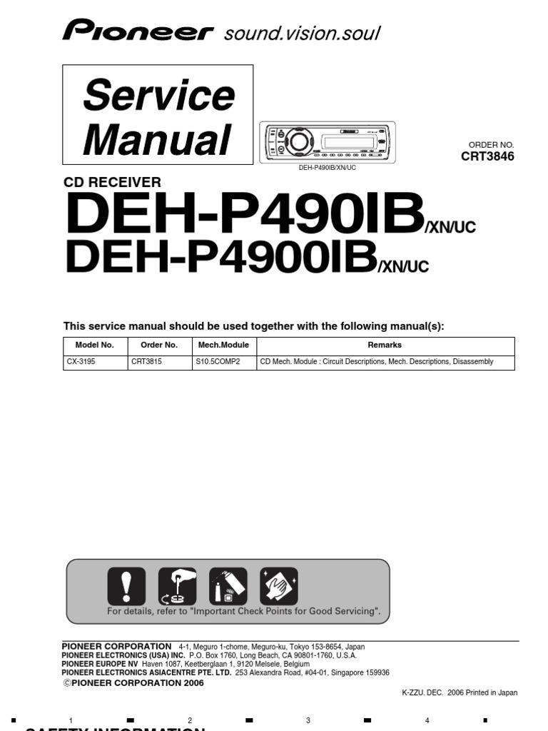 pioneer deh p490ib p4900ib crt3846 receiver audio car electrical rh es scribd com