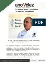 24-10-11 Aprueba El Congreso Mayor Certidumbre para la industria maquiladora