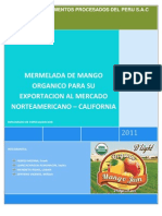 Mermelada de Mango orgánico para su exportacion al mercado de USA