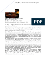 FLB - 3º Festival Internacional de Violão 2011 - Agenda Masterclasses, Cursos, Palestras