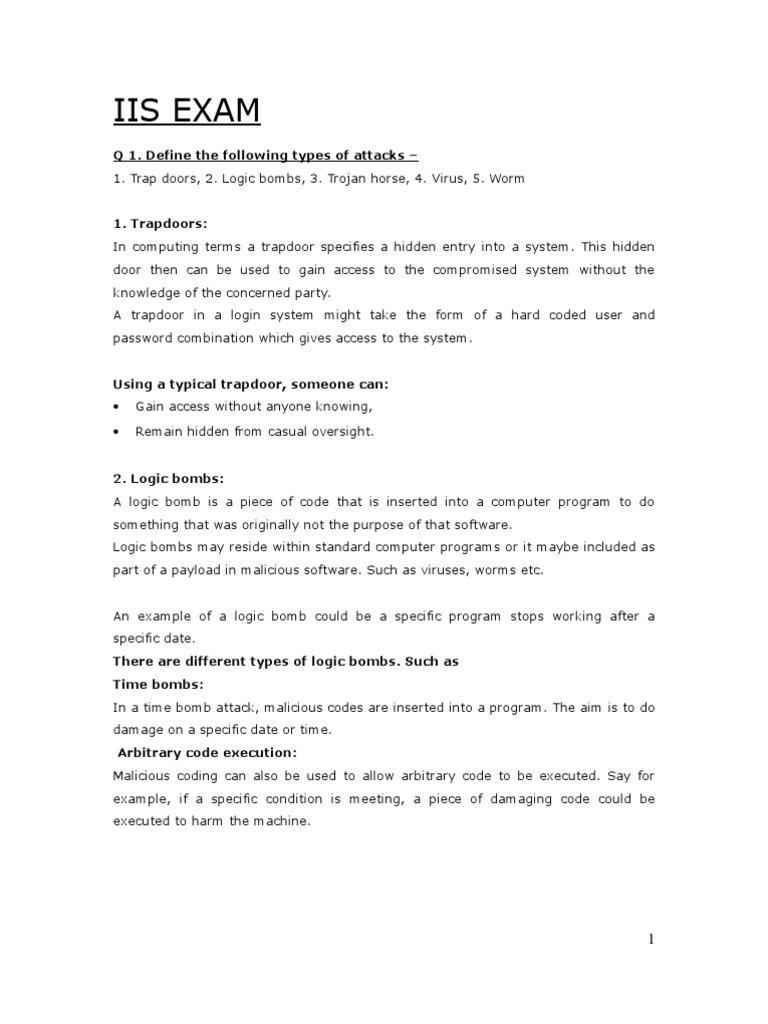 IIS_EXAM_v0 | Computer Virus | Malware