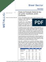 210706 - Relatório Setorial Siderurgia - Dados Da Produção Global de Aço Em Junho - Cautelosos Porém Confiantes