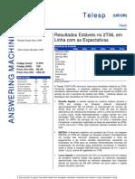 260706 - Flash News Telefonia - Telesp - Result a Dos Estáveis No 2T06, Em Linha Com as Expectativas