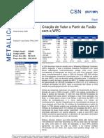 040806 - Flash News Siderurgia - CSN - Criação de Valor a Partir Da Fusão Com a WPC