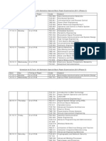 Schedule for Special Back Paper Examination September 2011 Phase II