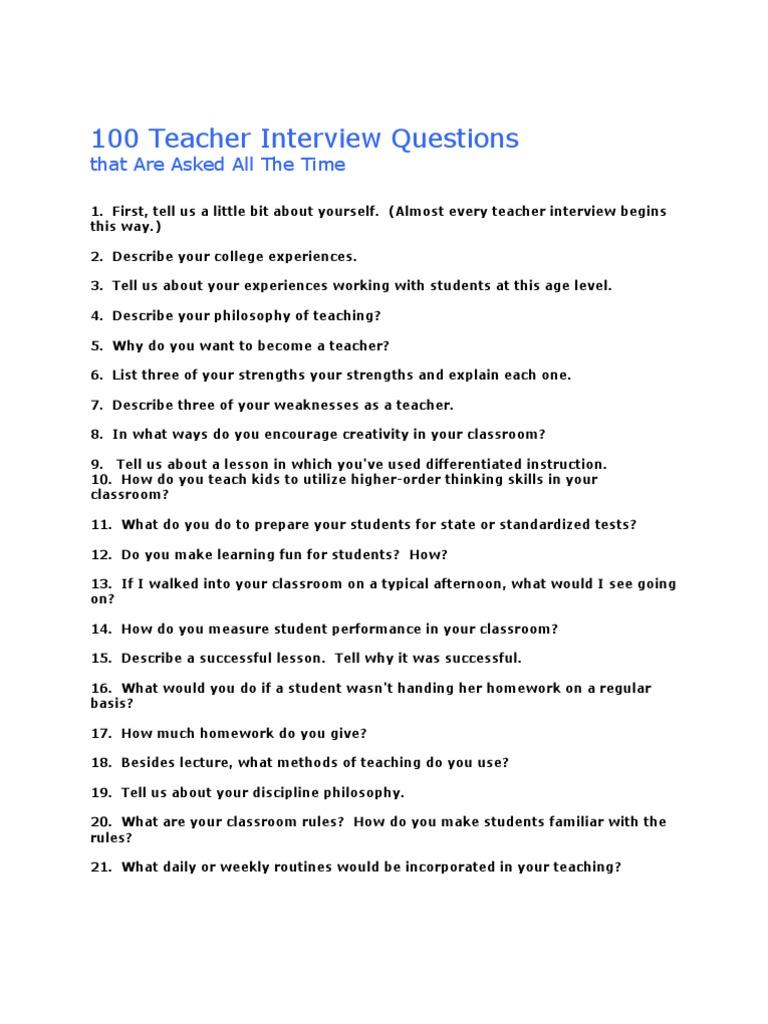Amazing 100 Teacher Interview Questions | Homework | Teachers