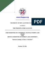 Testimony of Hon. Alfonse D'amato (10/25/2011)