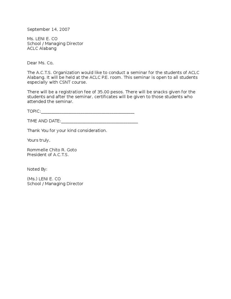 Seminarpermission letter stopboris Images