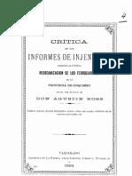 Crítica de los informes de injenieros contenido en el folleto ''Reorganización de los ferrocarriles de la Provincia de Coquimbo''. (1894)