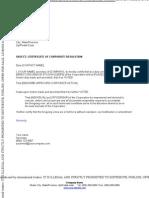 Certificate of Corporate Resolution