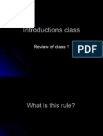 Class 2:Introductions Class Review