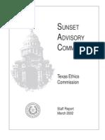 Sunset Advisory Commission report on Texas Ethics Commission