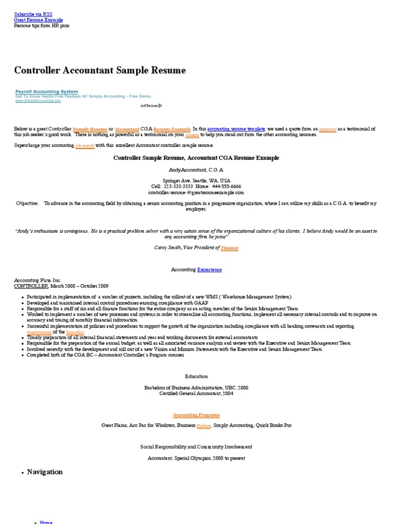 Controller Sample Resume, Accountant CGA Resume Example, Accounting Resume  Sampl | Accountant | Chief Financial Officer  Sample Resume For Accounting