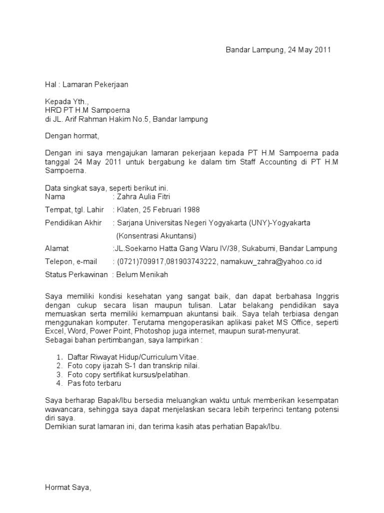 Surat Lamaran Pt H M Sampoerna
