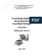 Contribuţii ştiinţifice ale profesorilor Facultăţii Filologie