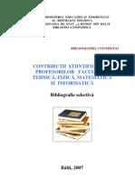 Contribuţii ştiinţifice ale profesorilor Facultăţii Tehnică, Fizică, Matematică şi Informatică