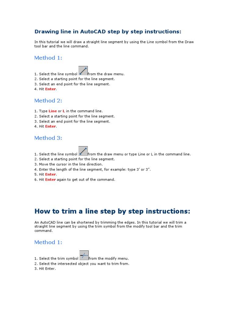 Auto Cad Manual Menu Computing Line Geometry