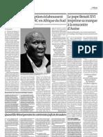 Les affaires de corruption éclaboussent le gouvernement ANC en Afrique du Sud (27 octobre 2011, Le Monde)
