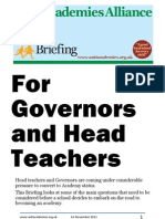 Briefing for Governors and Head Teachers