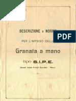 Descrizione e norme per l'impiego della granata a mano tipo SIPE