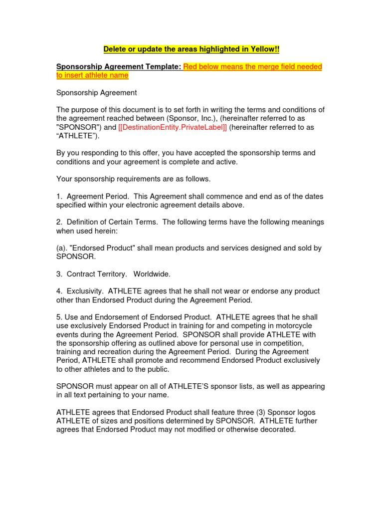 Good SAMPLE Sponsorship Contract   Indemnity   Sponsor (Commercial) Design Ideas