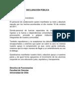 Declaración Pública Funcionarios Facultad de Ciencias