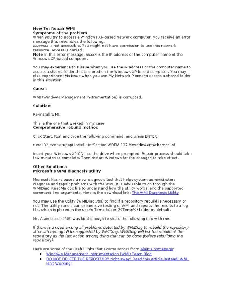Repair WMI | Microsoft Windows | Command Line Interface