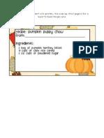 Puppy Chow Recipe Card