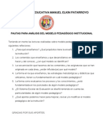Pautas análisis Modelo Pedagógico