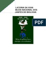 RELATORIA DA XXXII ASSEMBLÉIA NACIONAL DOS ESTUDANTES DE BIOLOGIA